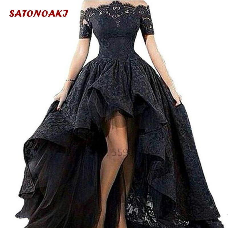 2020 قصير أسود دانتيل فستان زفاف بدون حمالات عالي منخفض طول الأرض قبالة الكتف فستان زفاف مخصص Vestido De Novia