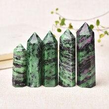 1PC naturel cristal Point épidote guérison obélisque vert Quartz tour ornement pour la décoration intérieure Reiki énergie pierre pyramide cadeau