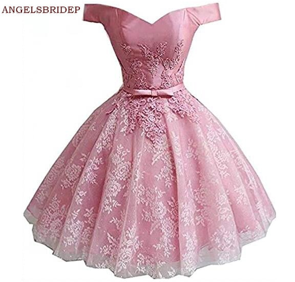 ANGELSBRIDEP Sexy Sweetheart vestido de fiesta juvenil vestidos de encaje faja de aplicación corto graduación Formal vestidos de fiesta para desfile caliente