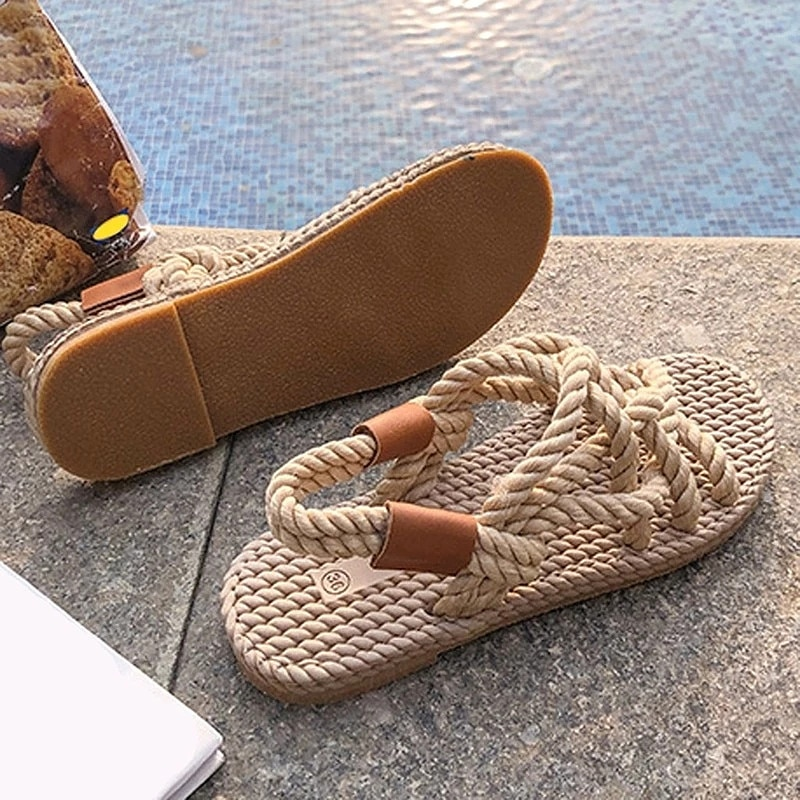 Sandals Woman Shoes Braided Rope With Traditional Casual Style Simple Creativity Fashion Beach Sanda