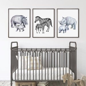 Baby and Mon Lion Giraffe Hippo African Animals Nursery Canvas Paintings Poster Wall Art Pictures for Kids Room Home Decorative
