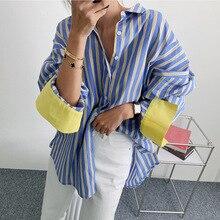 SuperAen primavera e l'estate nuova camicia a righe a contrasto di colore camicia lunga allentata coreana da donna