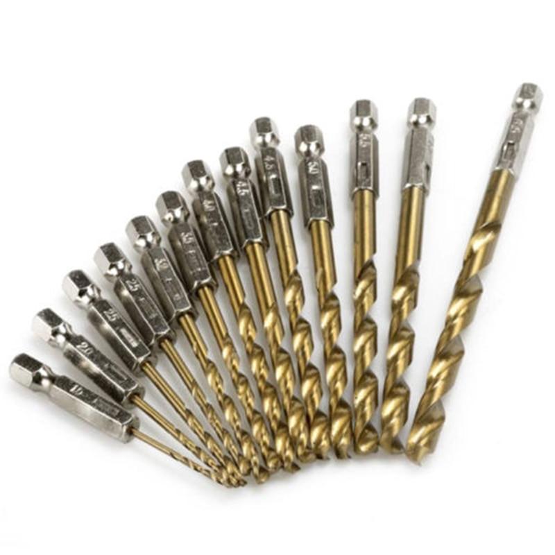 Juego de 13 piezas de 13 tamaños de vástago hexagonal de acero recubierto de titanio juego de brocas para madera de plástico