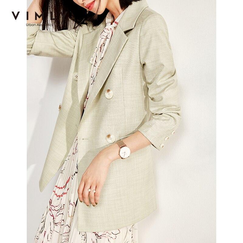 Vimly feminino blazer outono senhora escritório elegante duplo breasted turn down collar roupas soltas do vintage feminino terno f0123