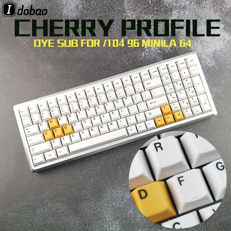 Cherry perfil blanco amarillo Color Keycaps tinte Sub negro impresión gruesa PBT para teclado mecánico Gh60 Xd60 Xd84 Tada68 87 104