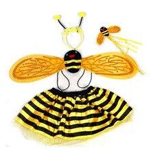 여자 어린이 매직 스틱 꿀벌 무당 벌레 날개 스커트 코스프레 파티 의상 생일 할로윈 크리스마스 크리스마스