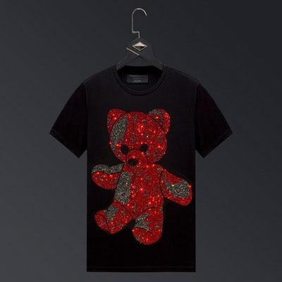 2021 الكرتون الدب الراين تي شيرت الرجال العلامة التجارية ملابس بأكمام قصيرة الشارع الشهير س الرقبة سليم مشروط تي شيرتات قطن حجم كبير 6XL
