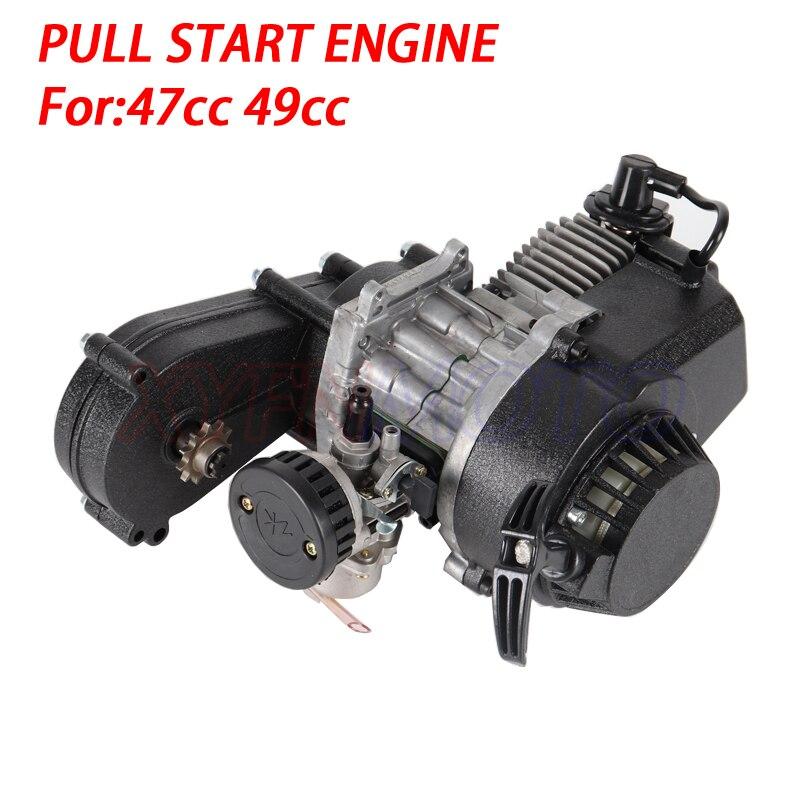 49cc 2 السكتة الدماغية سحب بدء المحرك المحرك انتقال فلتر الهواء ل جيب صغير حفرة رباعية الترابية دراجة ATV 4 عجلة