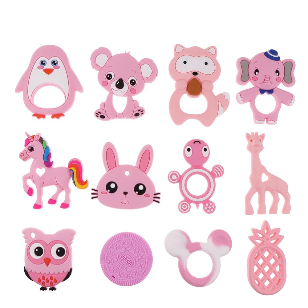 Mordedores de silicona 1 unidad, collar para dentición de bebé, juguete de zorro, panda, elefante, dibujos animados de silicona de grado alimenticio, barra pequeña de juguete para bebés