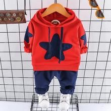 Newborn Clothing Set Casual Autumn Baby Set Kids Long Sleeve Sports Set Cartoon Star Hoodies Coat T-shirt Pants Infant Clothes