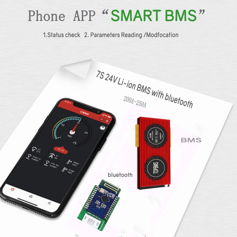 مروحة تبريد BMS 7 S 24 فولت تعمل بالبلوتوث 200A 250A SOC RS485 CANbus NTC UART تستخدم لبطاريات الليثيوم 3.7 فولت متصلة في 7 سلاسل