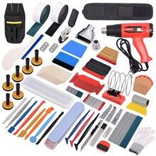 FOSHIO виниловый скребок из углеродного волокна с вилкой Стандарта США/ЕС, скребок для пистолета горячего воздуха, сумка для инструментов, набор инструментов для тонирования окон автомобиля