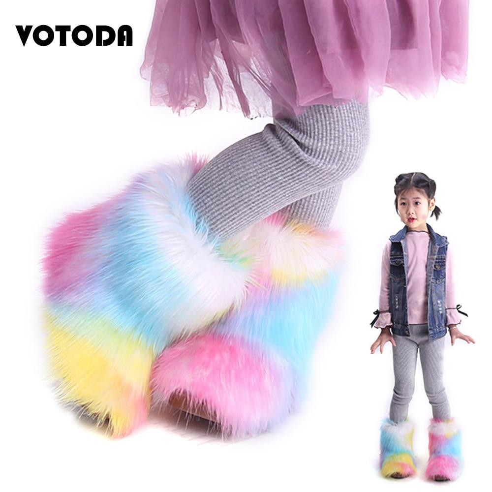Winter Warm Children Fur Snow Boots Cute Flat Rainbow Kids Ankle Boots Fluffy Faux Fur Plush Girls Boot Non Slip Furry Baby Shoe