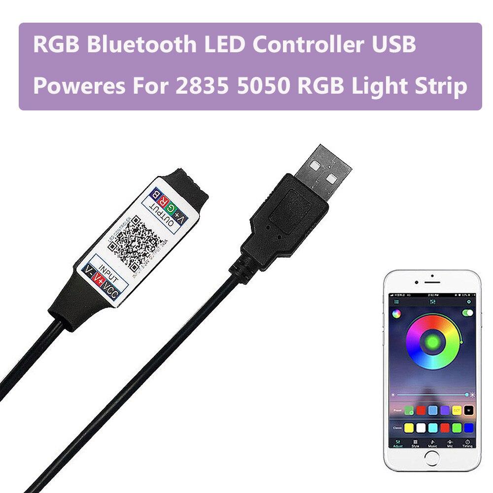 Умный RGB Bluetooth светодиодный контроллер с питанием от USB для 2835 5050 RGB светильник многоцветная изменяющаяся полоса постоянного тока 5 В с таймером Suitabl