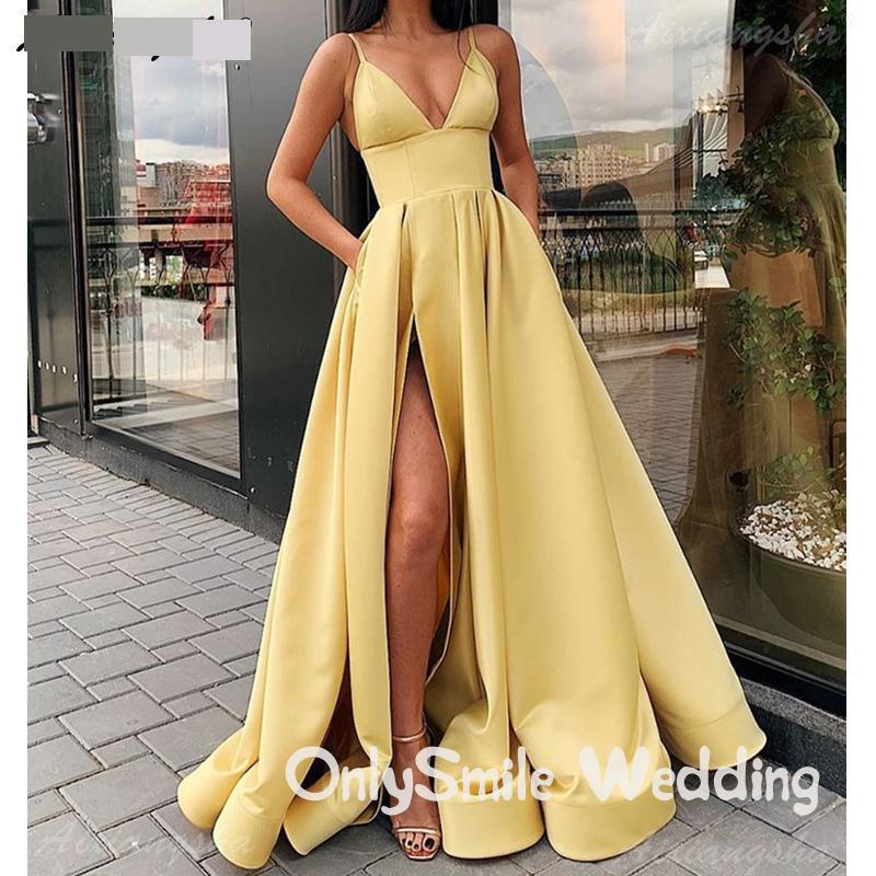 Vestido de fiesta amarillo con tirantes finos, satén, cuello en V, Sexy, con bolsillos, de talla grande, largo, 2020