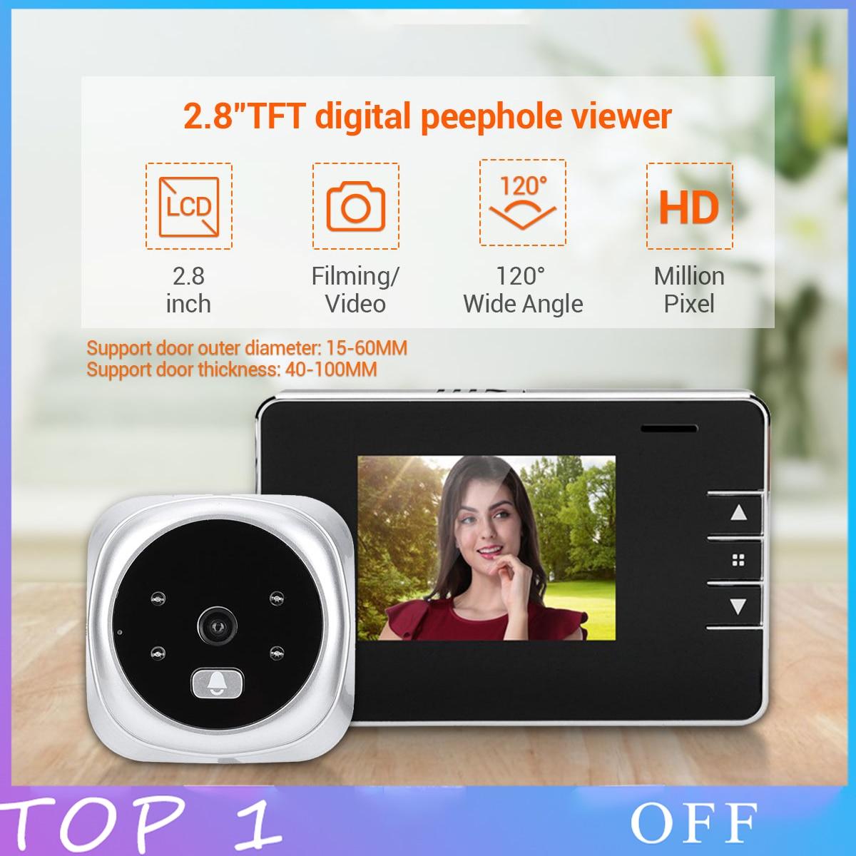2.8 inch Peephole HD video Doorbell Angle Digital peephole door DoorOutdoor Door Bell Video peephole