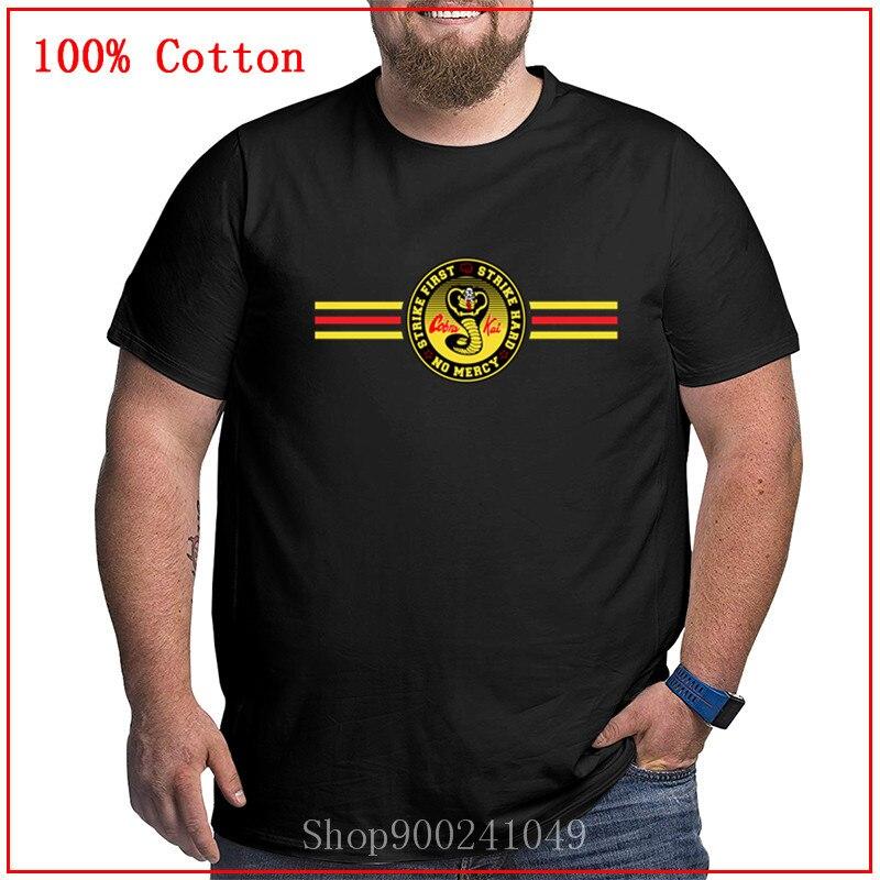 Novas listras cobra kai karate crianças t camisa dos homens plus size grande tamanho grande roupas 4xl 5xl 6xl grandes topos altos t