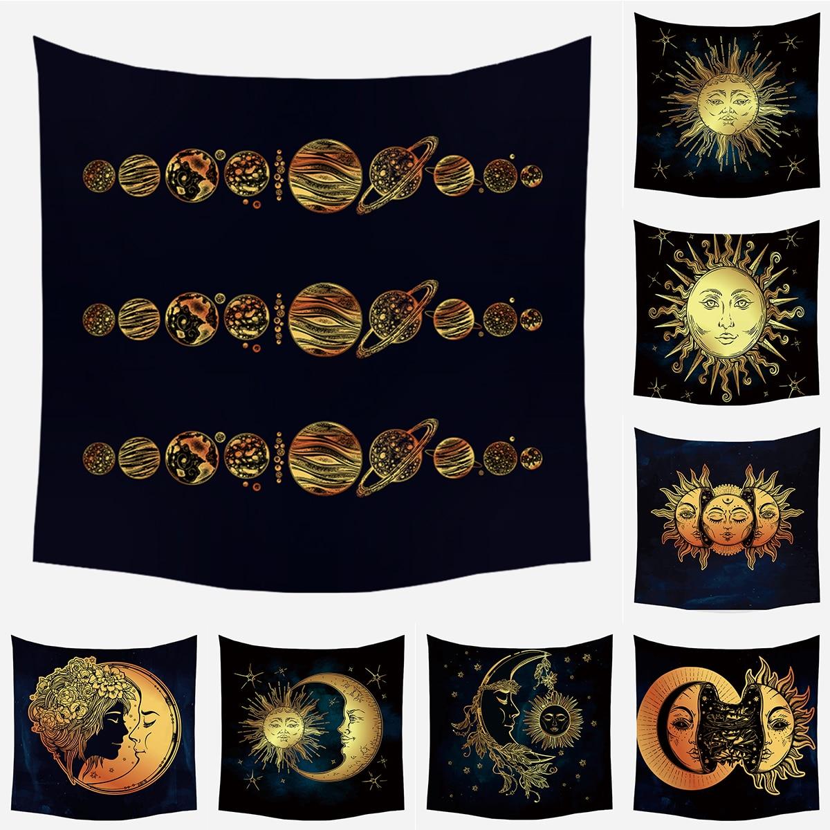 LuanQI Mandala Tapestry Black Sun And Night Moon Tapestry Wall Hanging Gossip Tapestries Hippie Wall Rugs Dorm Decor Blanket 1ps bohemia mandala blankets tapestry elephant wall hanging wandbehang gobelin blanket dorm home decor mantas mandalas