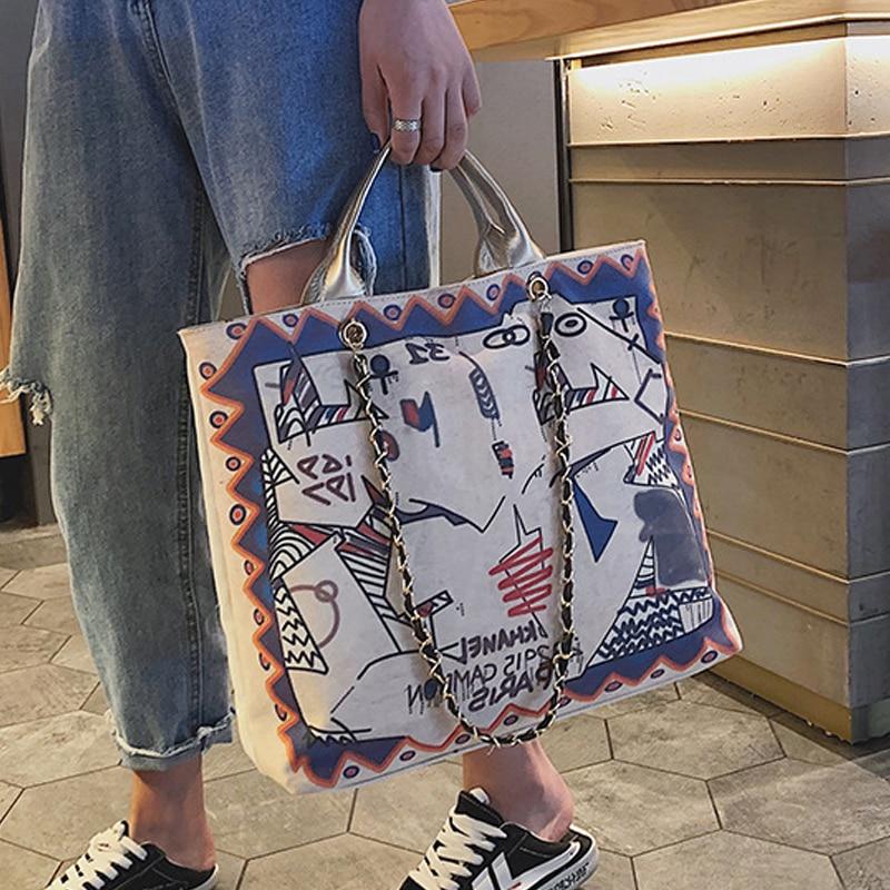 Bolso grande de moda para mujer, bolso de compras, bolso artístico de lona de una sola pieza, bolso de hombro para mujer con grafiti, B42-35