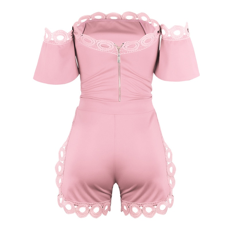 Solid Color Slash Neck Long Sleeves Lace Tops & Zipper Pants All-Matching New Arrival Summer Women Suit Sexy 2 Piece Set