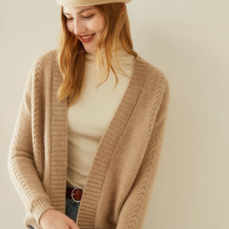 Tailor Shop Custom Made Spring and Autumn New Cashmere Cardigan Women's Pure Color Wild Knitted Sweater Long Sleeve Short enlarge