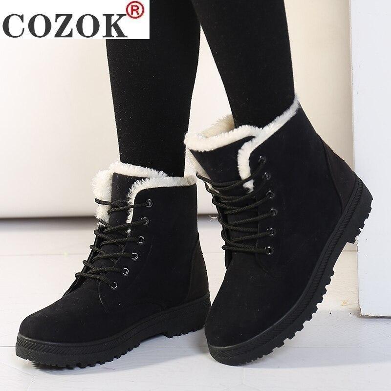Boot para as Mulheres Sapatos de Inverno com Pele Botas de Neve Sapatos de Pelúcia Womens Boot Inverno Tornozelo Femininas Botas Mujer Quente Mulher Mais Tamanho 44