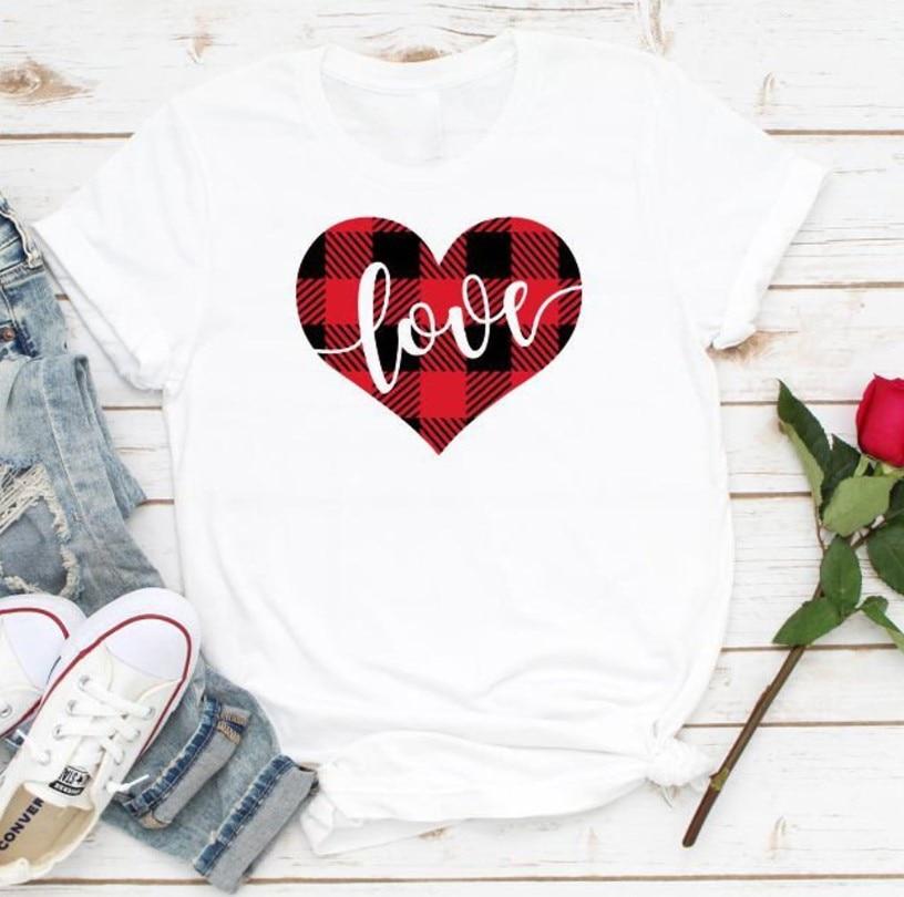 Búfalo Plaid amor camiseta mujer amor camisas divertidas camisa de San Valentín regalo grunge estético tee arte camisetas drop ship
