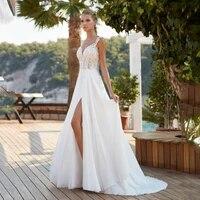 glamorous beach wedding dress deep v neck sleeveless lace high slit chiffon a line bridal gowns backless marriage dresses