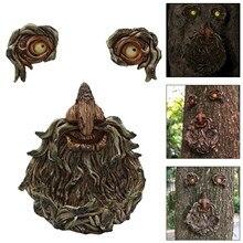 Bark Ghost Face Facial Features Decoration Easter Outdoor Creative Props Garden Decoration Outdoor E
