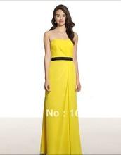 free shipping A-line Soft sweetheart/open back natural waist chiffon floor length black grossgrain ribbon sash Bridesmaid Dress