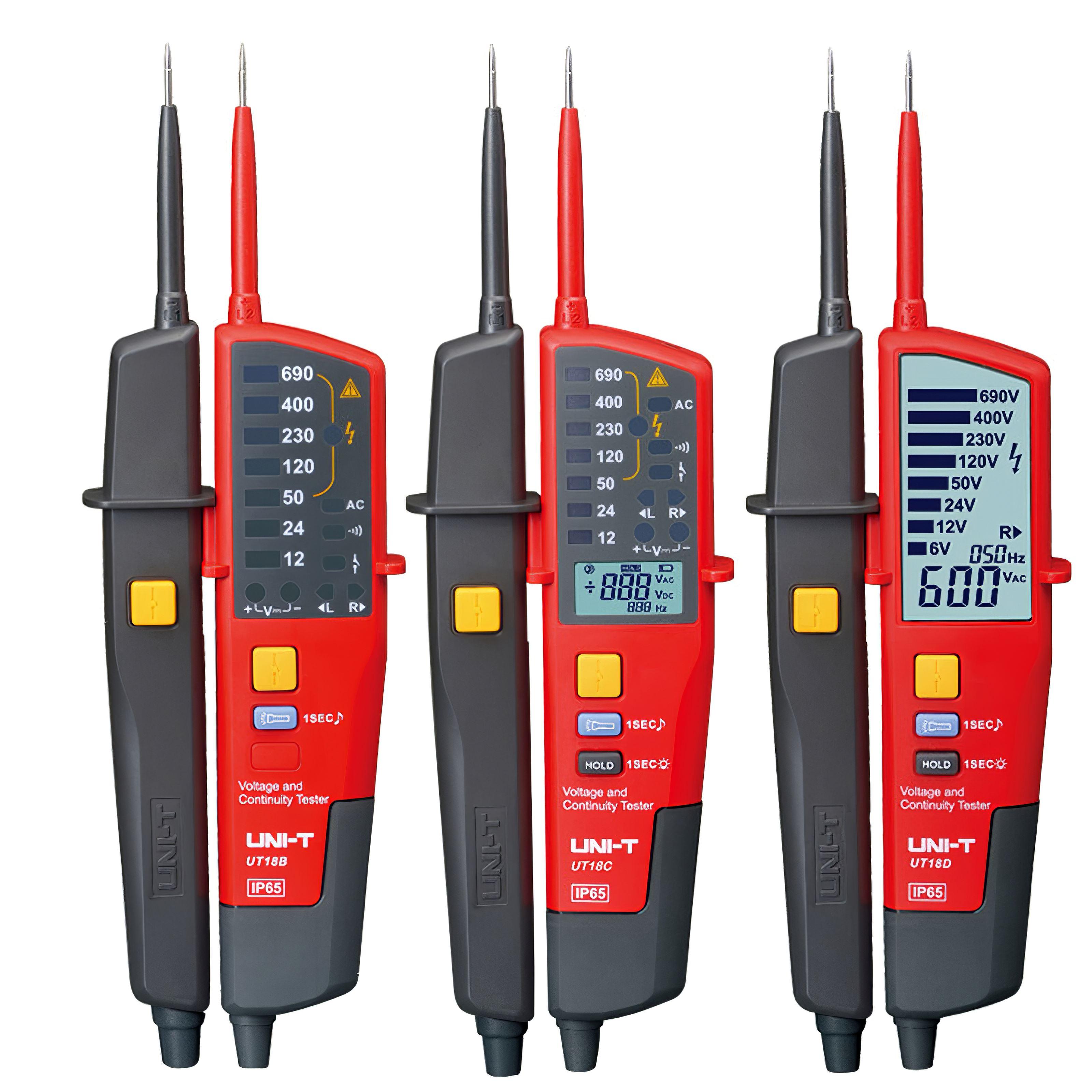 UNI-T UT15C UT18C الرقمية الجهد متر 24 فولت ~ 690 فولت التيار المتناوب/تيار مستمر جهاز قياس الجهد الكهربائي s شاشة الكريستال السائل السيارات المدى المرح...