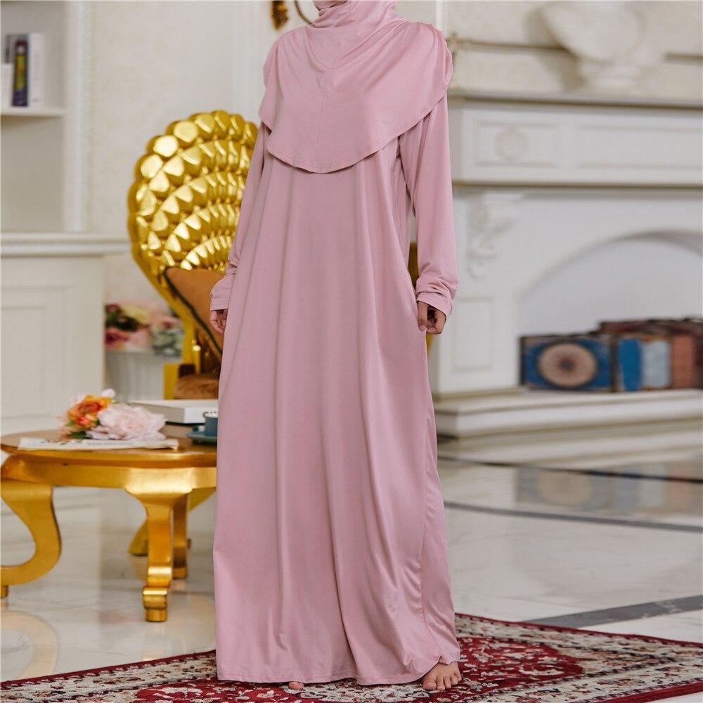 فستان مسلمات للعيد بقلنسوة للحجاب ملابس صلاة جلباب عباية طويلة كيمار غطاء كامل رمضان ثوب عبايات ملابس إسلامية نقاب