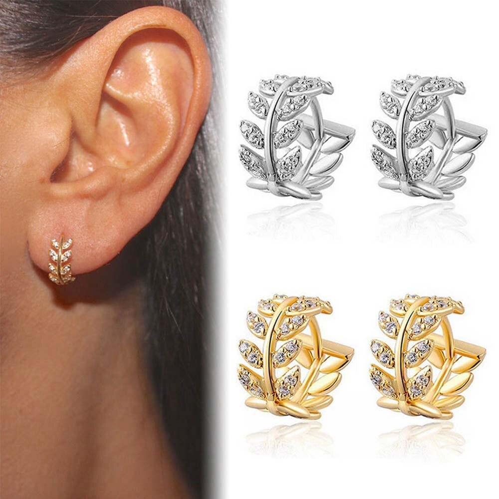 Feuilles forme strass Surround cerceau boucles doreilles rondes boucles doreilles amoureux cercle oreille anneau femmes cristal petite boucle doreille bijoux cadeau