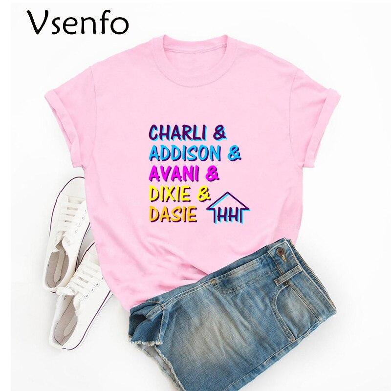 The Hype House Tshrit Charli D'amelio T Shirt for Women Men Kpop 2020 Unisex Oversize O-neck Cotton Tops Short Sleeve Clothes
