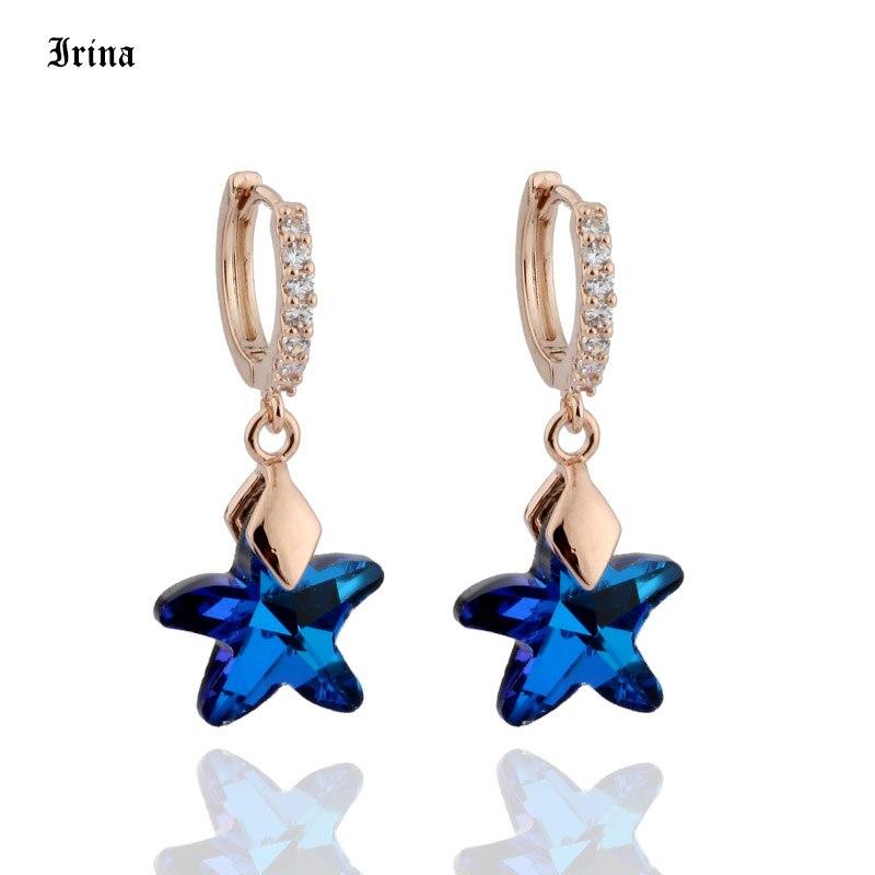 Nowe modne kolczyki 585 różowe złoto kolor Trendy kryształy 3 kolor gwiazda style urok spadek kolczyki dla kobiet prezent ślubny