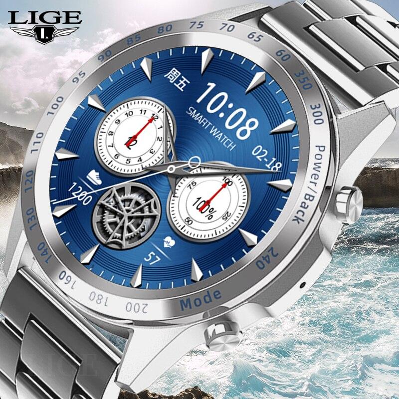 LIGE 2021 New Smart Watch Men Heart Rate Monitoring Blood Pressure Watch Sleep Fitness Tracker Dial