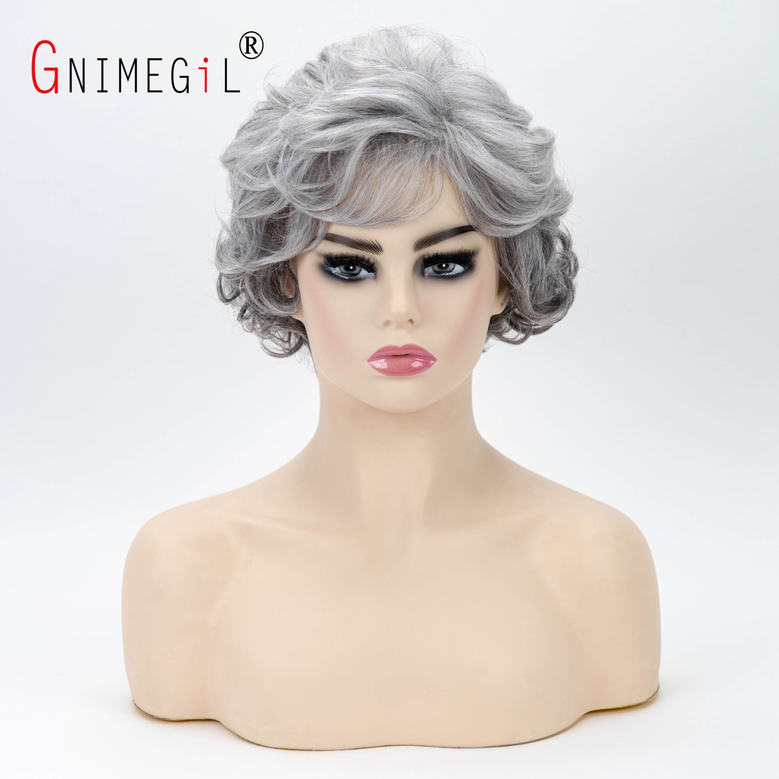 GNIMEGIL 60s Ombre Grey Short Curly Wigs for Women Old Lady Synthetic Hair Costume Wig Gifts for Grandma