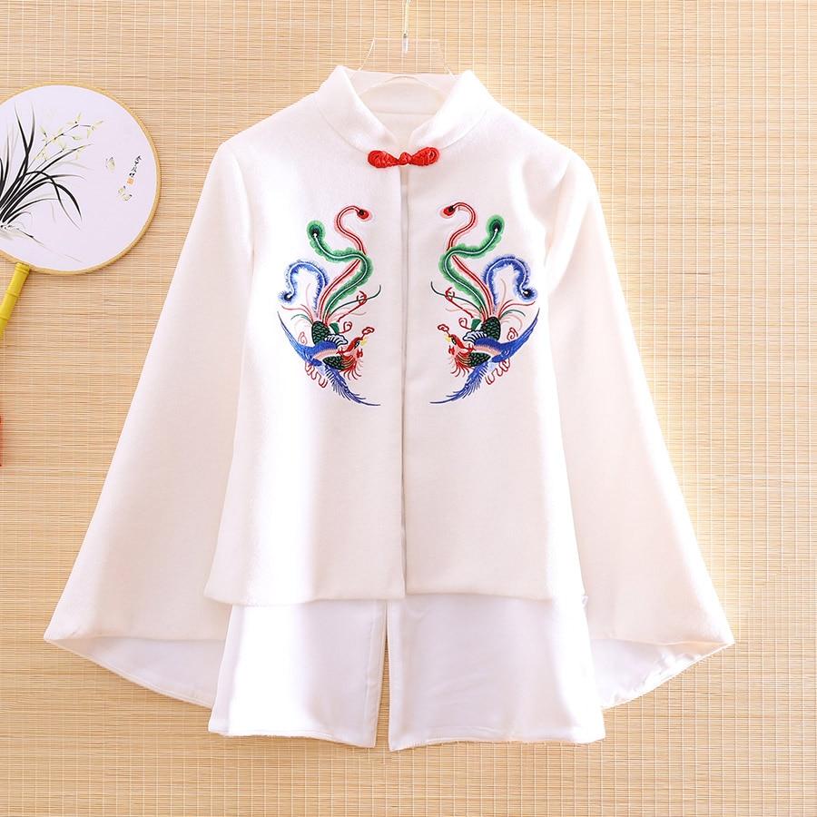 الراقية الخريف النساء معطف أعلى الصينية نمط الرجعية التطريز فينيكس أنيقة فضفاض سيدة الصوف سترة معطف الإناث S-XL