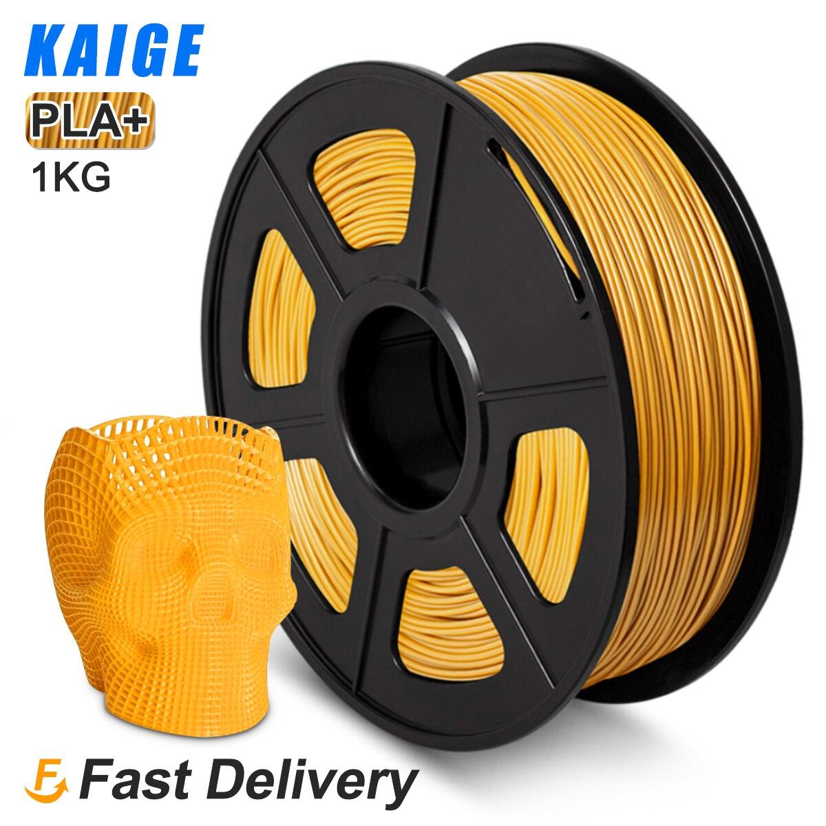 Kaige-filamento de impresión 3d PLA Plus, 1,75mm, 1kg, Color dorado claro, tolerancia...