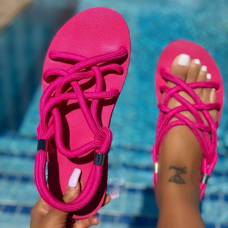 Summer Women Shoes New Flat Open Toe Sandals Women Shoes Fashion Solid Color Sandals Women Outdoor W