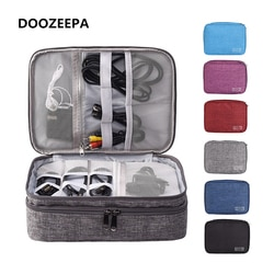 Doozeeepa portátil organizador digital saco de viagem 2 camadas acessórios eletrônicos saco de armazenamento dispositivo digital saco gadget carry bags