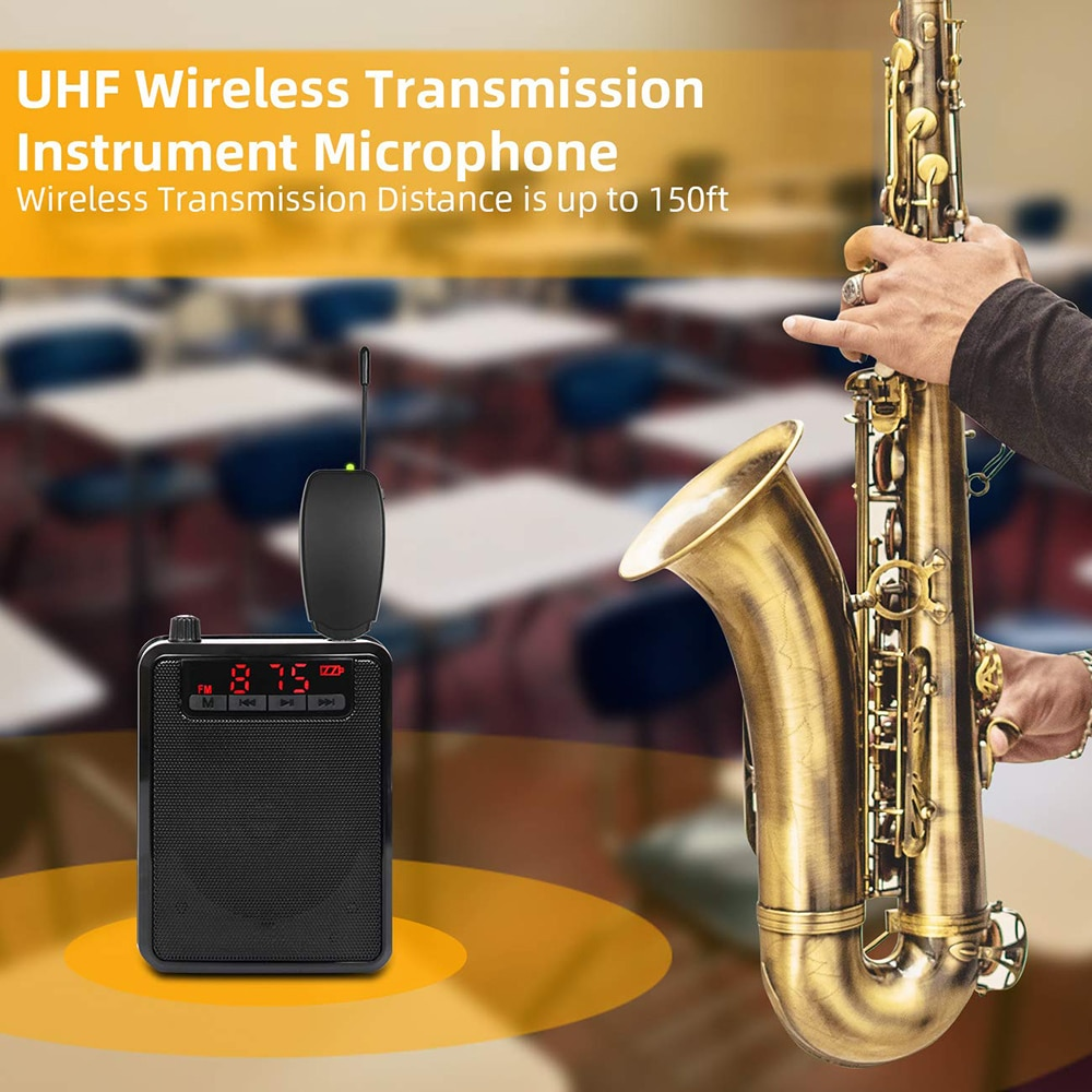 UHF Saxophone Mic Wireless Microphone System Clip on Musical Instruments for Saxophone Trumpet Sax Horn Tuba flute Clarinet Pipe enlarge