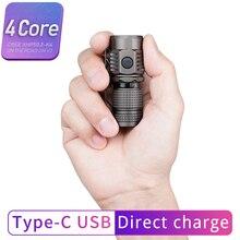 En la carretera U16 USB linterna tipo C carga directa USB mini LED linterna exterior pequeña