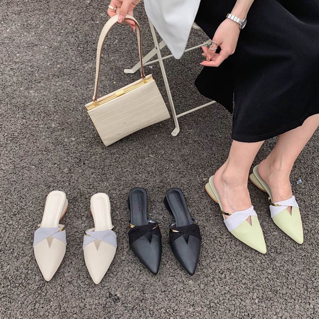 Female Shoes Slippers Women Summer Low Cover Toe Slides 2021 Genuine Leather Rubber Fabric Hoof Heel