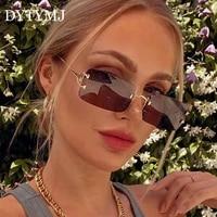dytymj 2020 rimless retro sunglasses women square glasses women rectangle punk eyeglasses for womenmen mirror glasses female