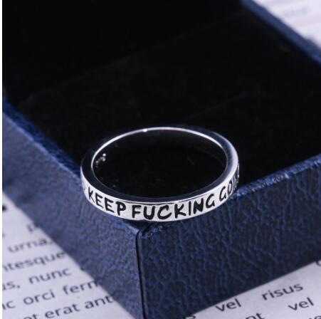 925 Sterling Silver Simple Punk Rock New Fashion Hip Hop Silver Ring for Men Women Engraved Letter Streetwear Rings Jewelry 2020