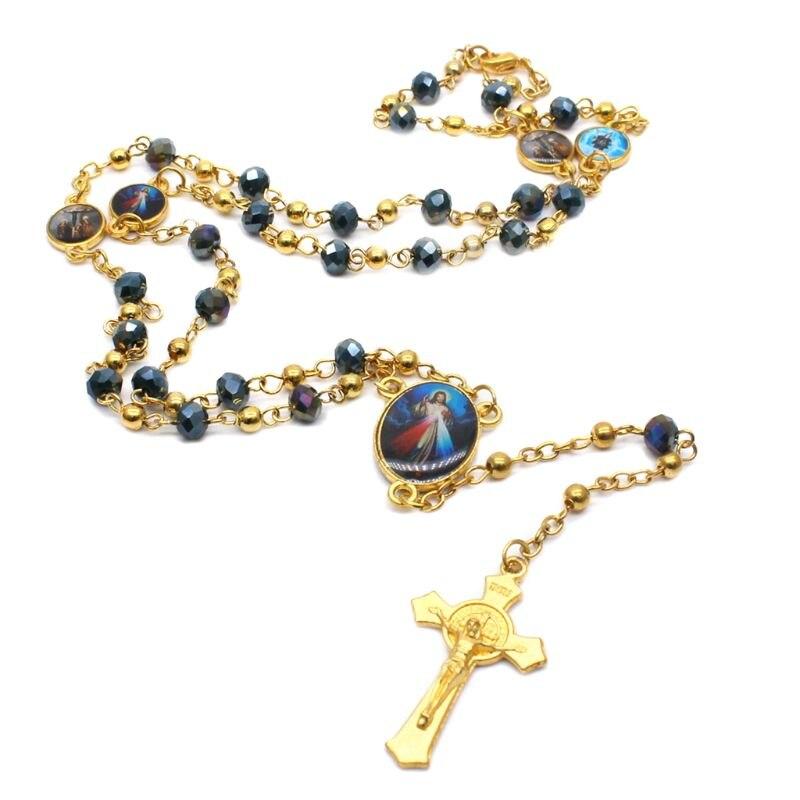 Colgante de cruz, collar de Rosario, religión cristiana, cadena de cristal de Jesús, abalorio Q0KA