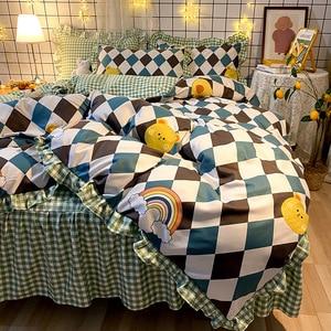4PCS  OverSize Duvet Cover Set Avocado Korean Princess Style Bed Skirt Thick Bedding Set Plant Flower Cartoon Pattern