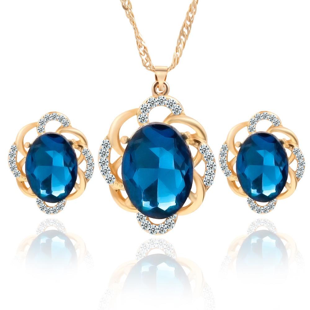 DSHI81-أقراط من الكريستال الأزرق ، طقم عقد من ثلاث قطع ، إكسسوارات فستان زفاف ، رابط هدية للمشتري