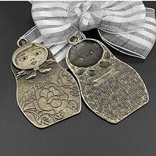 (C244)6 pieces 66x39mm Antique Bronze Zinc Alloy Russian Dolls Charms Pendants Diy Jewelry Findings Accessories Wholesale